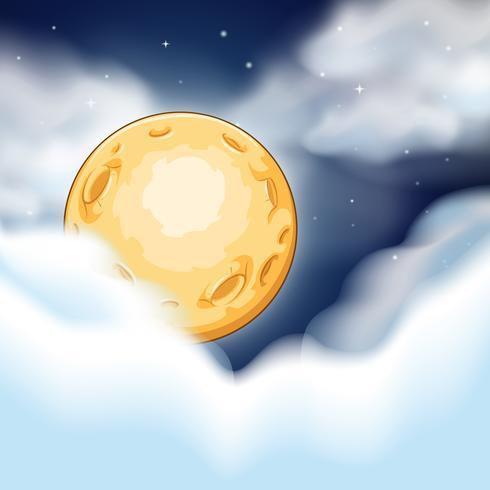 Escena nocturna con luna y nubes.