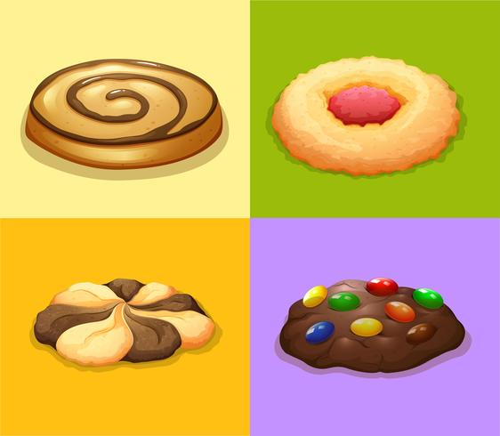 Four types of cookies vector