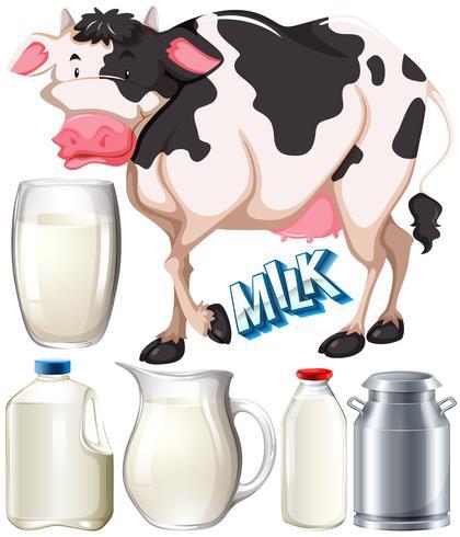 Latticini con mucca e latte fresco