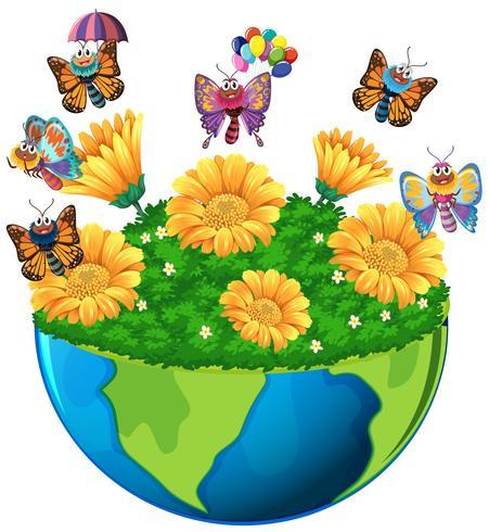 Thème de la terre avec des papillons et des fleurs