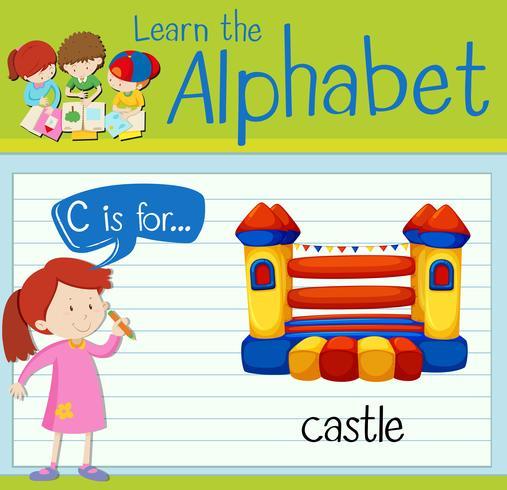 Flashcard letra C es para castillo