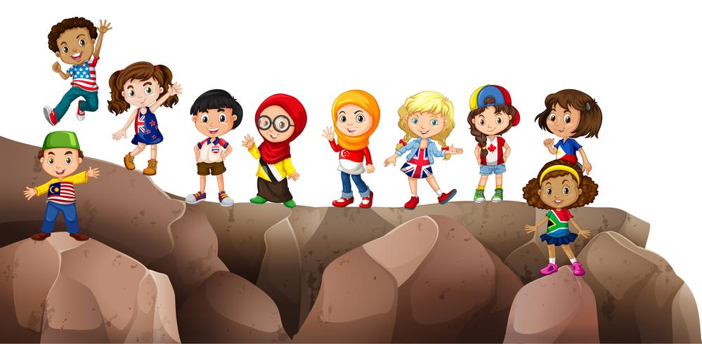 Children from different countries on the cliff vector