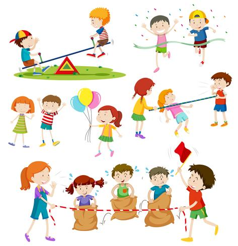 Children playing different games