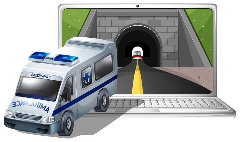 Tela de computador com ambulância e túnel