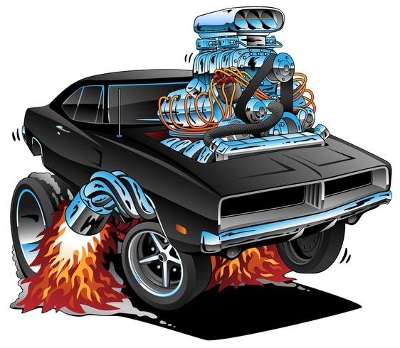 Classic Sixties Style American Muscle Car, Huge Chrome Motor, Vector Graphic