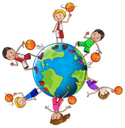 Jugadores de baloncesto con balón en todo el mundo.