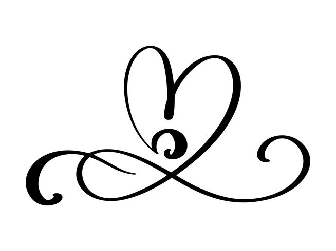 Hand drawn love border flourish heart separator Calligraphy designer elements. Vector vintage wedding, valentines day illustration Isolated on white background