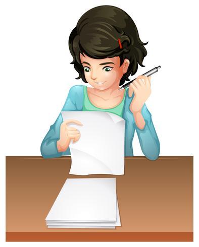Um, mulher, responder, a, testpapers