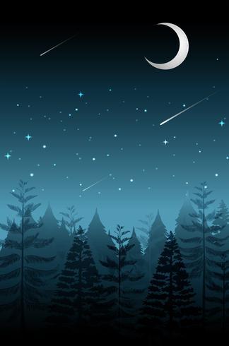 Estrela cadente na noite escura