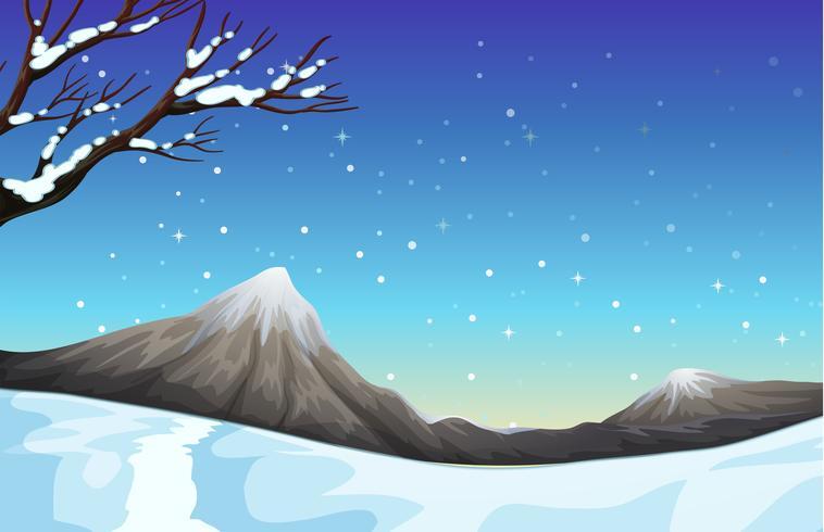 Aardscène tijdens de sneeuwtijd
