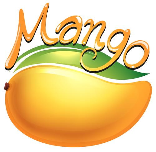 Etiqueta de comida de mango en blanco
