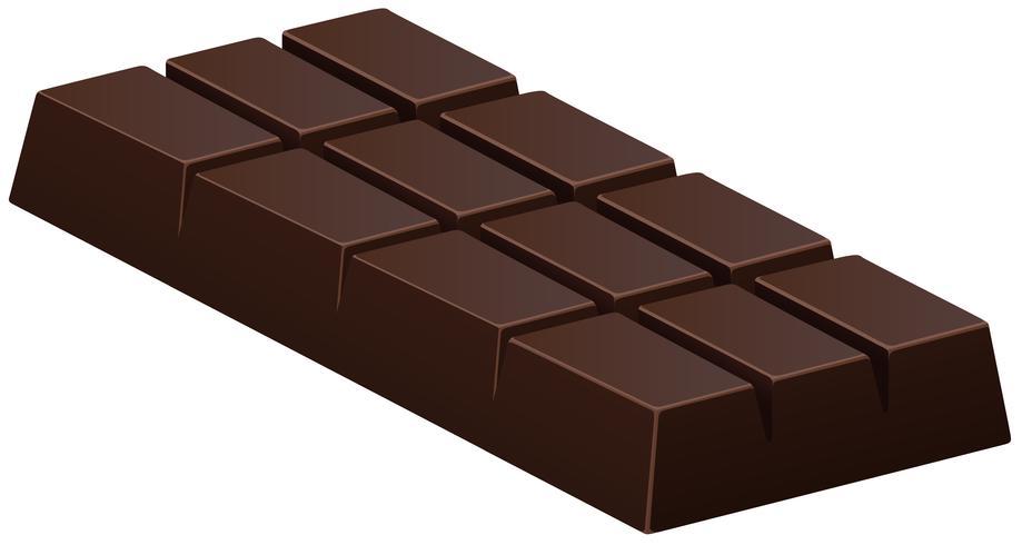 Barra de chocolate escura em branco