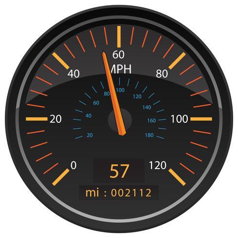 MPH Miles per timme Hastighetsmätare Odometer Automotive Dashboard Mätare Vector