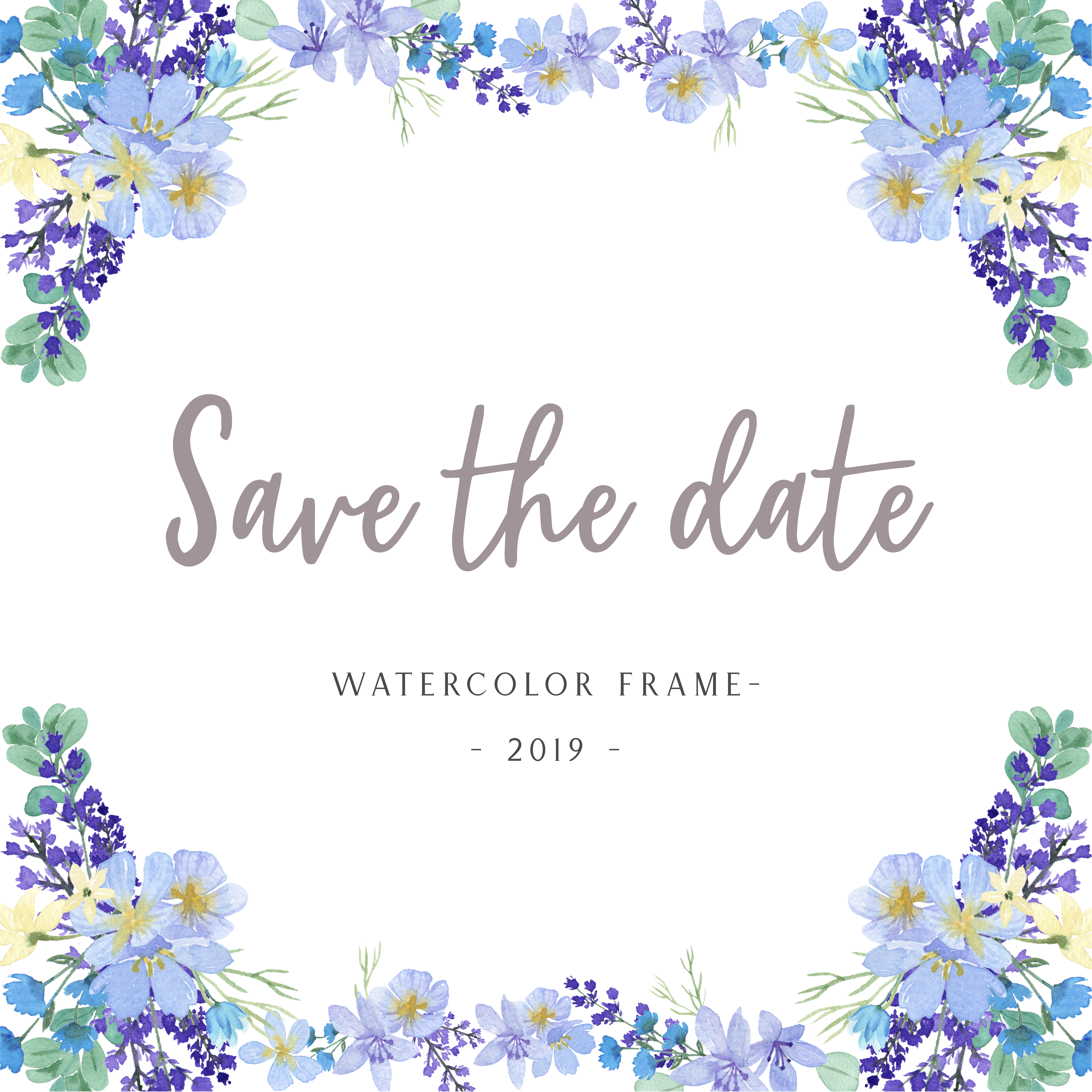 Watercolor florals with text frame border, lush flowers ...