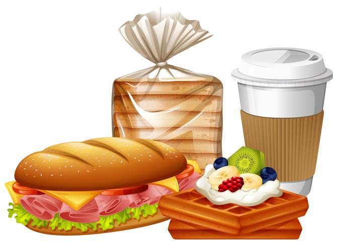 Café da manhã com waffles e pão