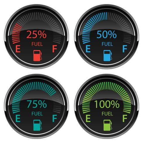 Illustrazione digitale moderna di vettore dei calibri di combustibile di gas dell'automobile di Digital