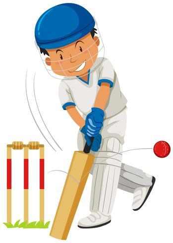 Jogador de críquete batendo bola com bastão