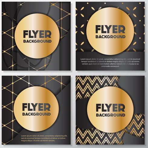 Plantilla de diseño de estilo banner flyer oro fondo vector