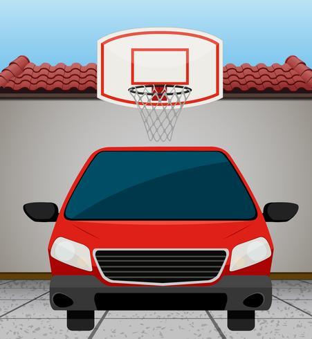 Carro vermelho, estacionado, por, a, parede