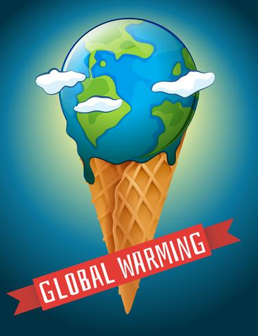 Global warming poster with melting earth vector