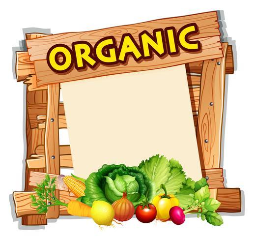 Organisch teken met veel groenten vector