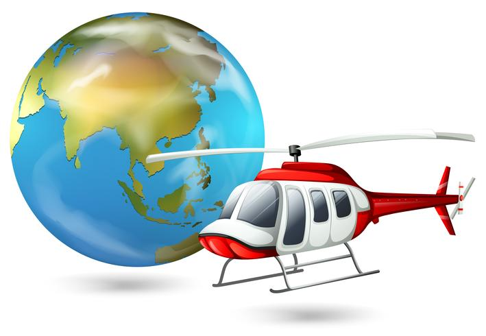 Een helikopter en een wereldbol