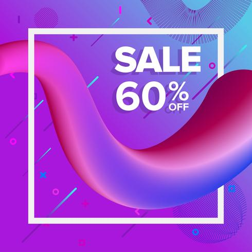 Försäljningsbanner på Liquify och Fluid Shape Background