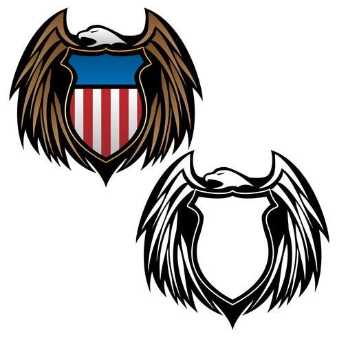 Águia patriótica com imagem vetorial de emblema de escudo