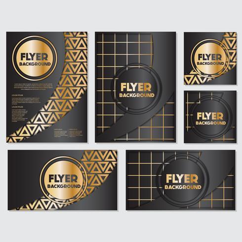 Modello di disegno di stile di flyer sfondo banner oro