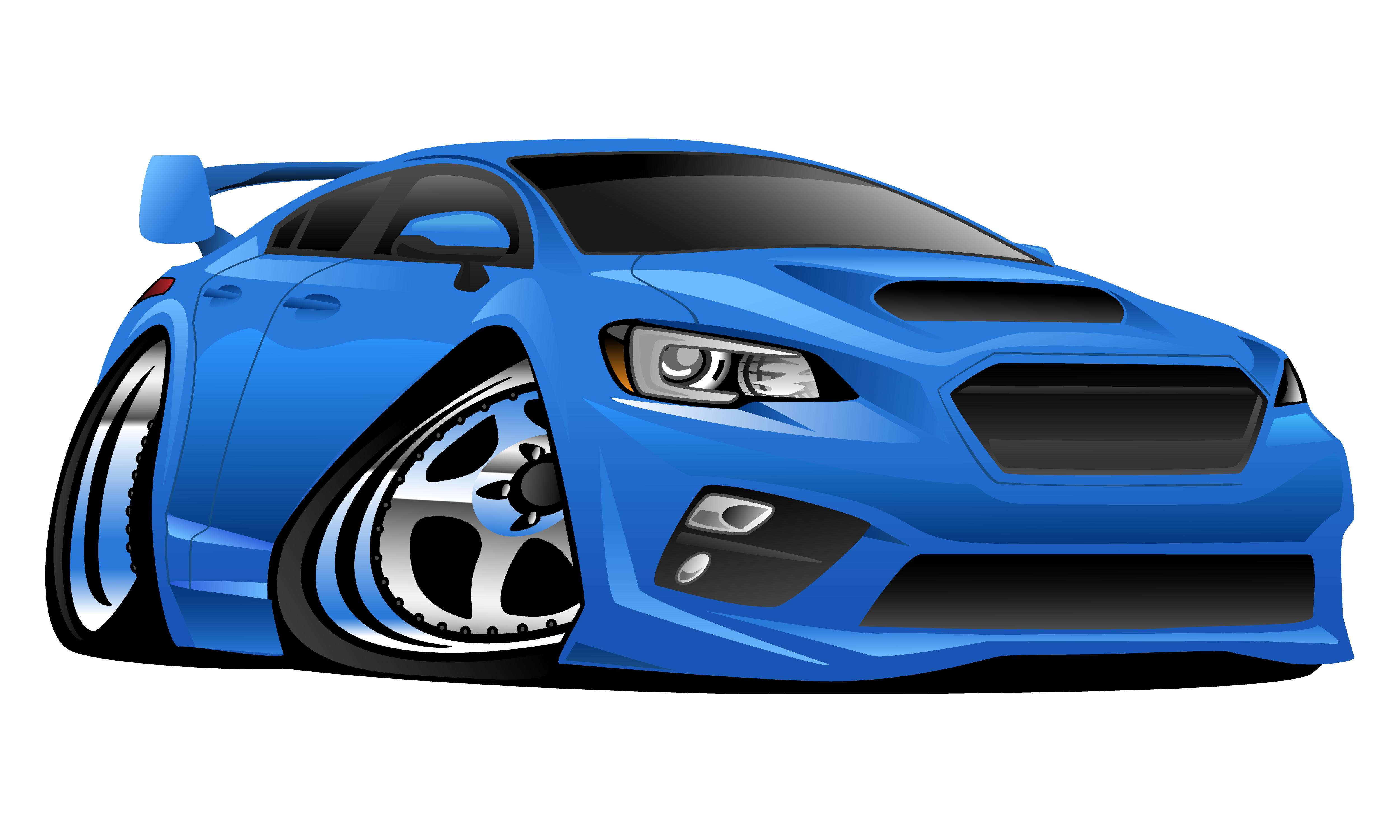 Modern Import Sports Car Cartoon Vector Illustration ... (5000 x 3000 Pixel)