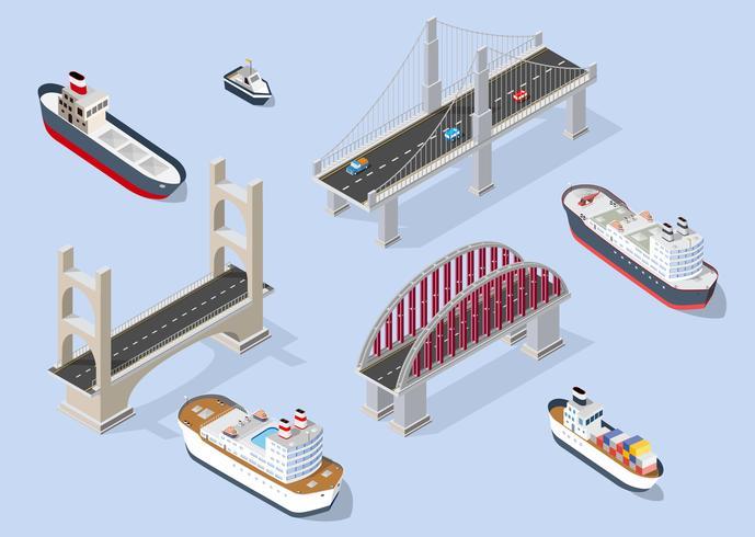 Kryssningsbåt och flottbåtar vektor