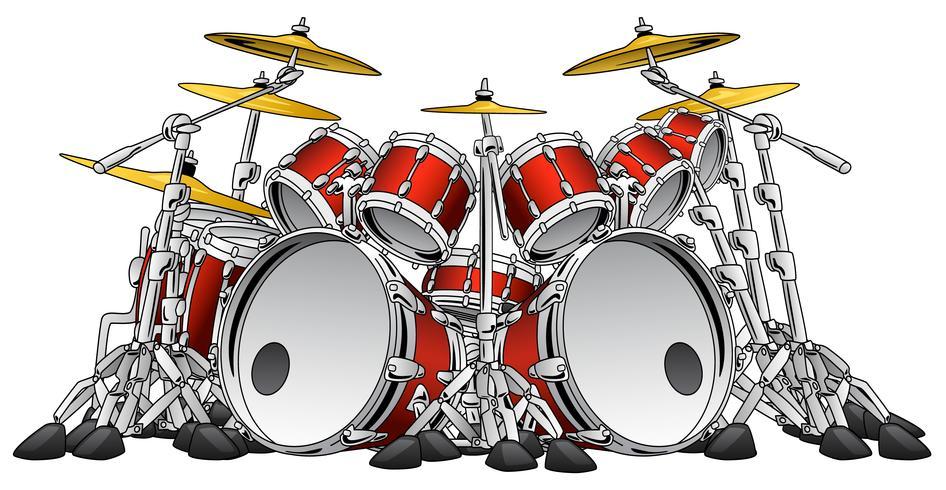Enorme conjunto de batería de 10 piezas, conjunto de instrumentos musicales, ilustración vectorial vector