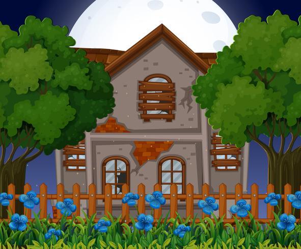 Gamla tegelhus på natten