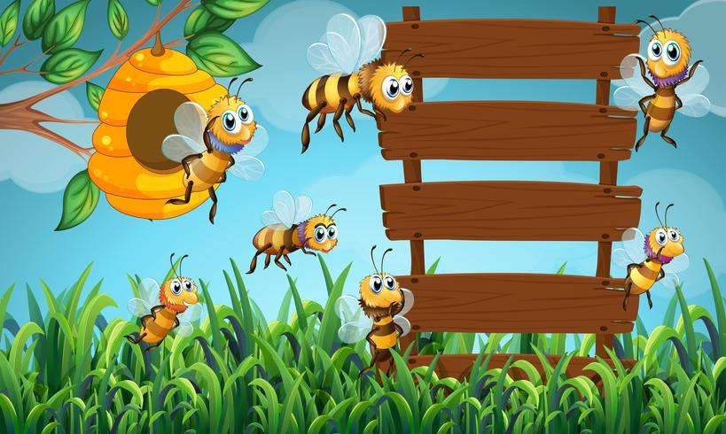 Bee flyger och trä tecken i trädgården
