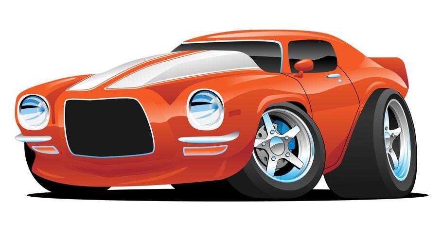 Ejemplo clásico del vector de la historieta del coche del músculo americano