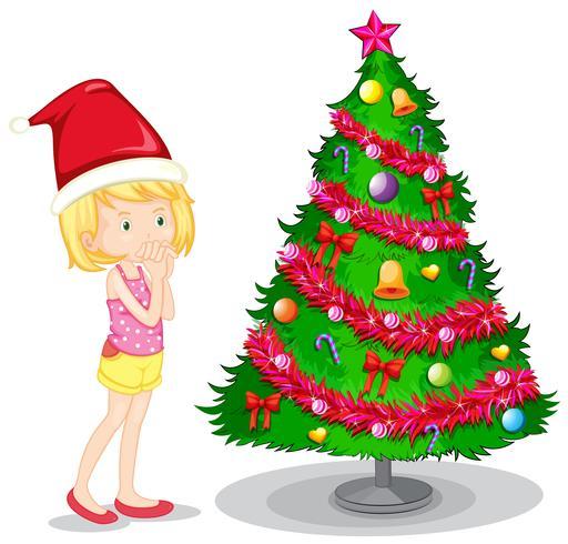 Tjej och julgran