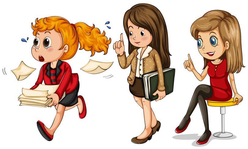 Tre affärskvinnor gör olika saker