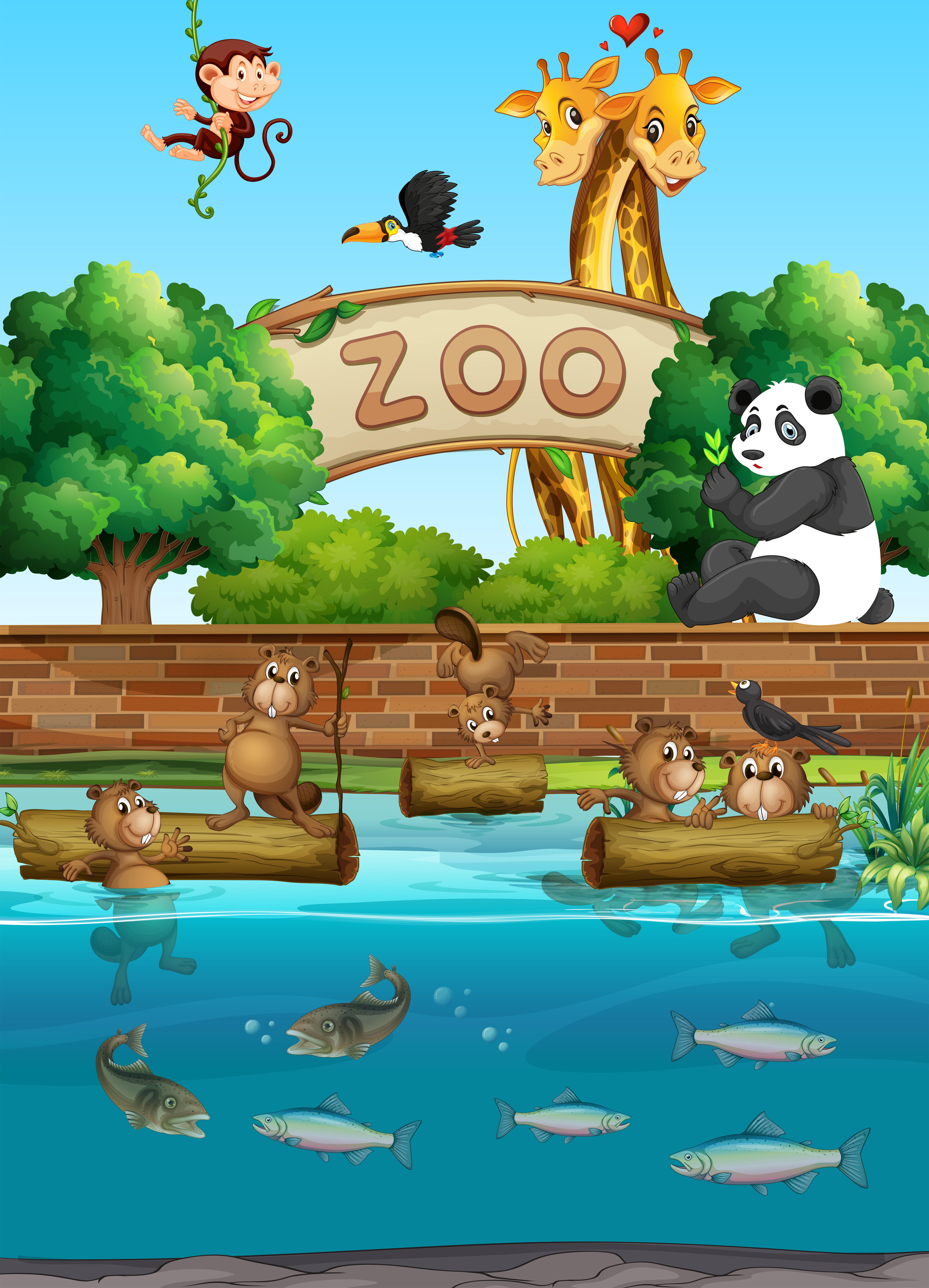 Scene at the zoo with many wild animals - Download Free Vectors, Clipart Graphics & Vector Art