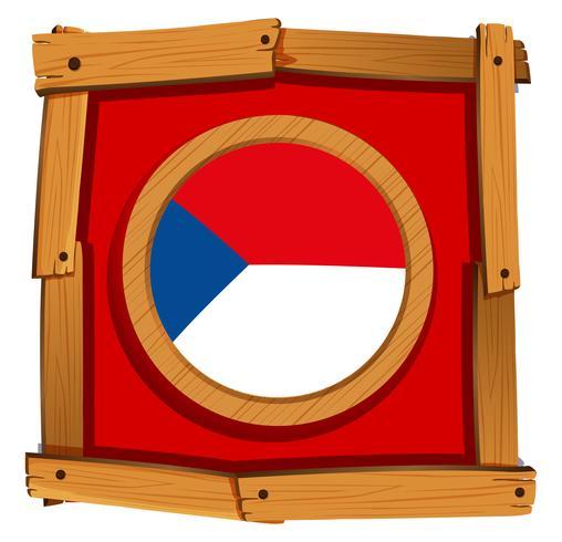Tjeckien flagga på rund emblem vektor