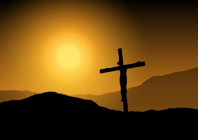 Jesus On Cross At Sunset Download Free Vector Art Stock Graphics