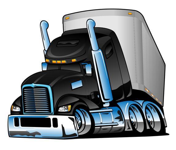 Camion dei semi con l'illustrazione di vettore del fumetto del rimorchio