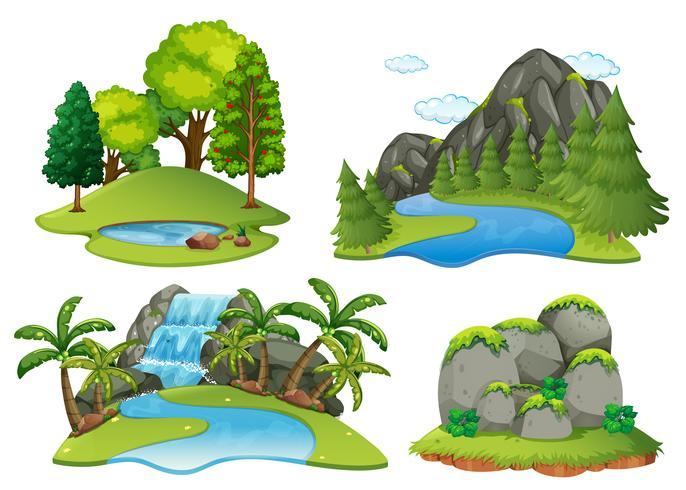 Bakgrundsscenarier med skog och vattenfall