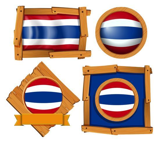Bandeira ícone do design para a Tailândia em diferentes formas