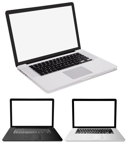 Drei Computerlaptops auf weißem Hintergrund