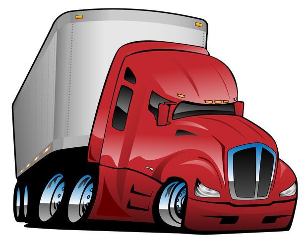Semi camion avec remorque Cartoon Illustration vectorielle