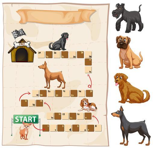 Plantilla de juego con perros en el fondo. vector