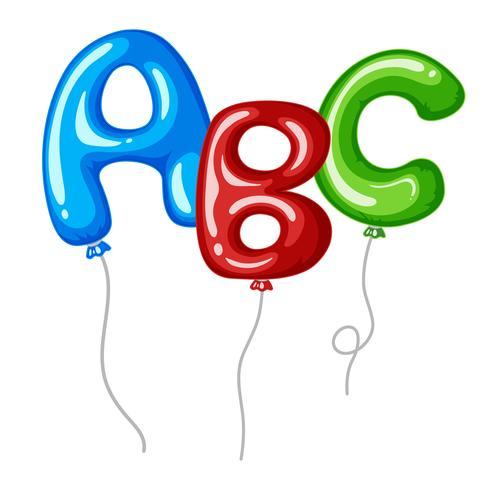 Ballonger med alfabeter former ABC