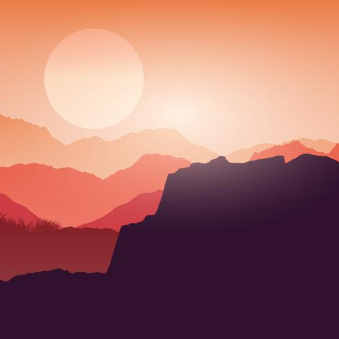 Canyon landscape at sunset  vector