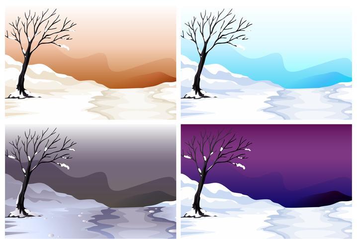 Fyra scener av snöfält i olika färghimmel