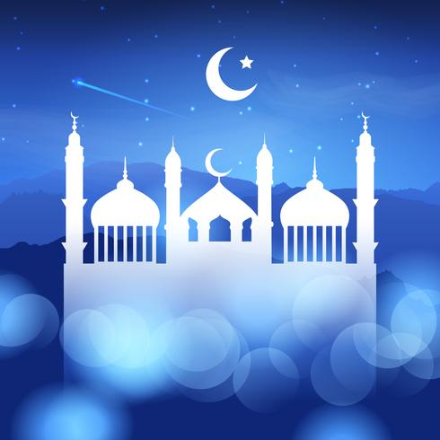 Ramadan background with mosque silhouette  vector